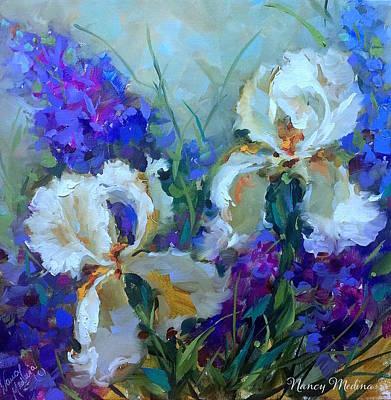 Sapphhire Lace White Irises Print by Nancy Medina