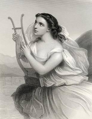 Impression Drawing - Sappho,born Between 630 612 B.c.   570 by Vintage Design Pics