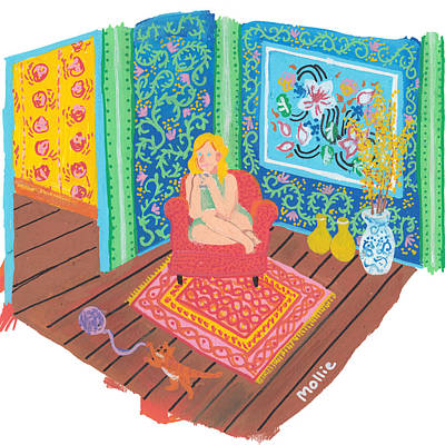 Sara Sipping Tea Print by Mollie Draws