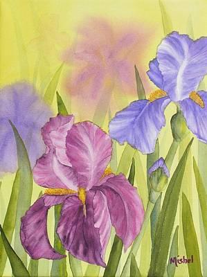 Print Of Irises Painting - Sara's Garden by Mishel Vanderten