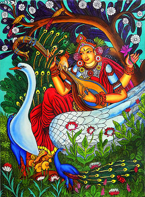 Veena Painting - Saraswati The Goddess Of Art Mural Painting by Arun Sivaprasad
