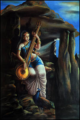 Veena Painting - Saraswati The Goddess Of Knowledge by Arun Sivaprasad