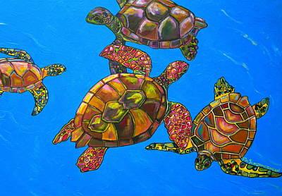 Caribbean Painting - Sarrah's Sea Turtles by Patti Schermerhorn