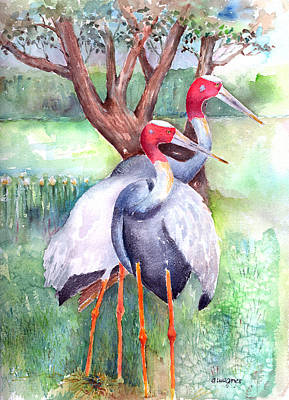 Bird Painting - Sarus Cranes by Arline Wagner
