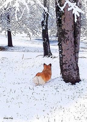 Welsh Corgi Digital Art - Sasha In The Snow by Kathy Kelly