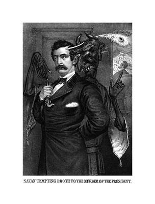 Lincoln Drawing - Satan Tempting John Wilkes Booth by War Is Hell Store