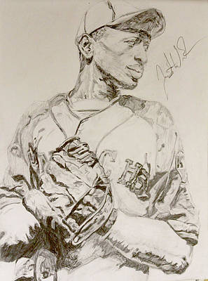 Mlb Hall Of Fame Drawing - Satchel Paige Poise by Justin Wade