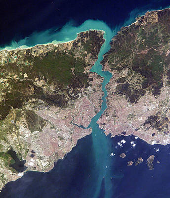 Astronomy Photograph - Satellite View Of Istanbul And The Bosphorus Strait by Artistic Panda