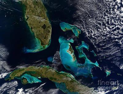 Landmass Photograph - Satellite View Of The Bahamas, Florida by Stocktrek Images