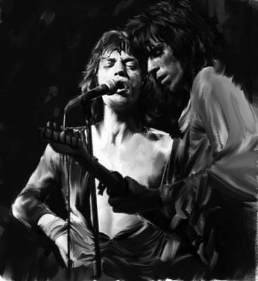 Keith Richards Drawing - Stage Life  Mick Jagger Keith Richards Rolling Stones by Iconic Images Art Gallery David Pucciarelli