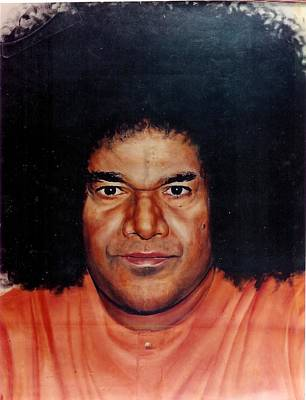 Baba Painting - Sathya Sai Baba- Full Face by Anne Provost