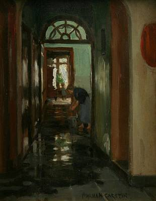 Weekend Painting - Saturday  An Interior View Of Garstin's Home  by Norman Garstin