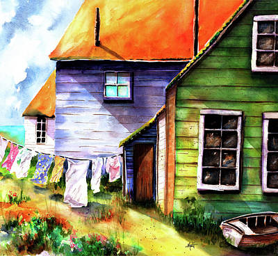 Laundry Painting - Saturday At The Beach by Marti Green