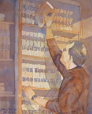 Library Painting - Saturday At The Office by Jenny Armitage