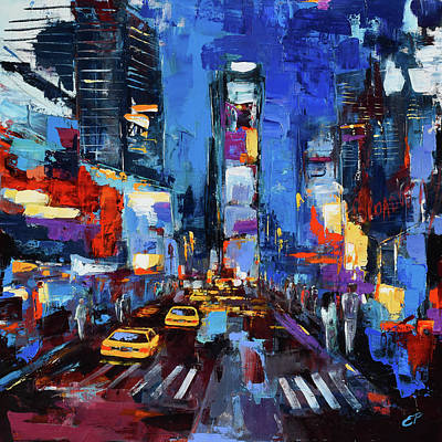 Saturday Night In Times Square Print by Elise Palmigiani