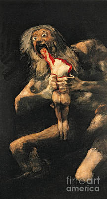 Evil Painting - Saturn Devouring One Of His Children  by Goya