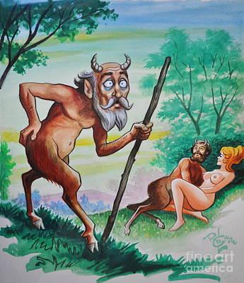 Satyr And Nude Original by Andrea Kollo