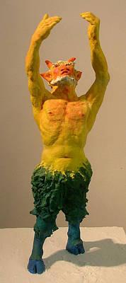 Paper Mache Sculpture - Satyr Prayer by Gary Kaemmer