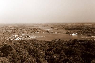 Saugatuck Michigan Harbor Aerial Photograph Print by Michelle Calkins
