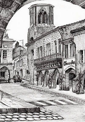 Village Scene Drawing - Sauveterre by Vincent Alexander Booth