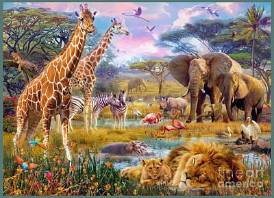 Lion Digital Art - Savannah Animals by Jan Patrik Krasny