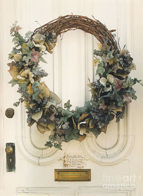 Savannah Georgia Vintage Door With Wreath Print by Kathy Fornal