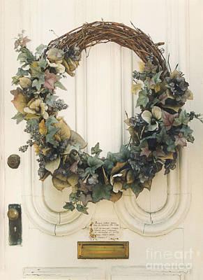 Savannah Pink Surreal Photograph - Savannah Georgia Vintage Door With Wreath by Kathy Fornal