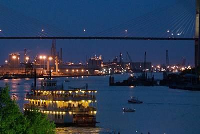 Savannah Harbor At Night Print by Leslie Lovell