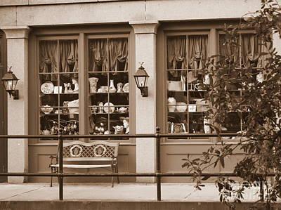 Window Bench Photograph - Savannah Sepia - Antique Shop by Carol Groenen