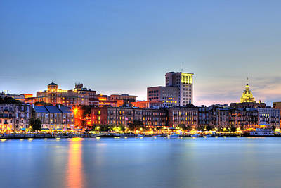 Riverfront Photograph - Savannah Skyline by Shawn Everhart
