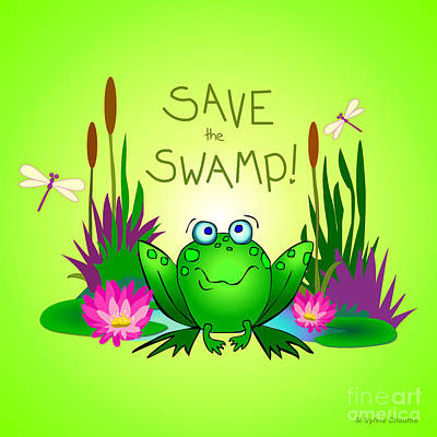 Optimistic Drawing - Save The Swamp Twitchy The Frog by M Sylvia Chaume