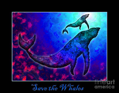 Whale Drawing - Save The Whales by Nick Gustafson
