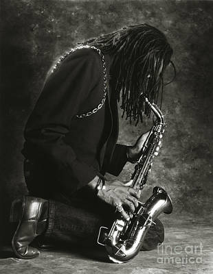 Sax Player 1 Print by Tony Cordoza