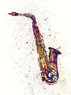 Saxes Digital Art - Saxophone Abstract Watercolor by Michael Tompsett