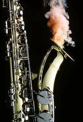 Wind Photograph - Saxophone With Smoke by Garry Gay