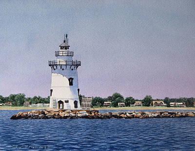 Saybrook Lighthouse Print by Sharon Farber