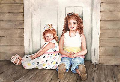 Sisters Painting - Sayler And Tayzlee by Sam Sidders