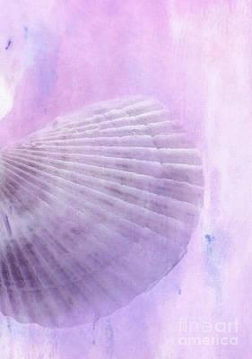 Scallop Sea Shell In Purple Print by Betty LaRue
