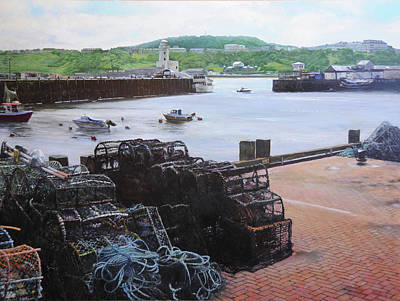 Scarborough Harbour. Print by Harry Robertson