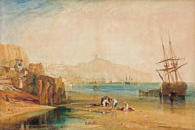 Outlook Painting - Scarborough Town And Castle, Morning, Boys Catching Crabs by JMW Turner