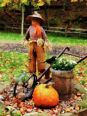 Wood Photograph - Scarecrow And Pumpkin by Susan Savad