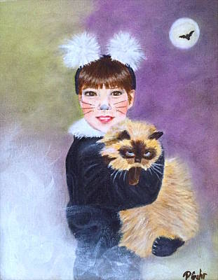 Moon With Bats Painting - Scaredy Cat Hallows Eve by Dr Pat Gehr