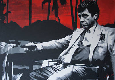 Cocaine Painting - Scarface - Sunset 2013 by Luis Ludzska