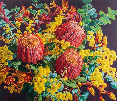 Scarlet Banksias And Wattle Original by Fiona Craig