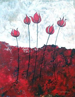 Scarlet Blooms Print by Herb Dickinson
