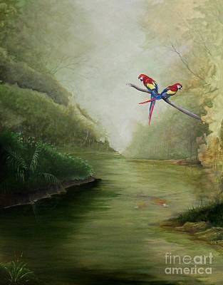 Tropical Painting - Scarlet Macaw's Rainforest River by William Patterson