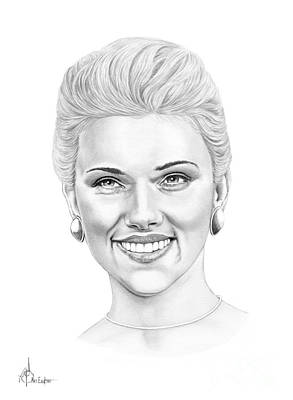 Famous People Drawing - Scarlett-johansson by Murphy Elliott