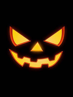 Scary Halloween Horror Pumpkin Face Print by Philipp Rietz