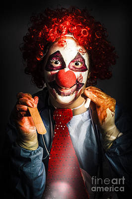 Clown Photograph - Scary Medical Clown Doctor Examining Health Victim by Jorgo Photography - Wall Art Gallery