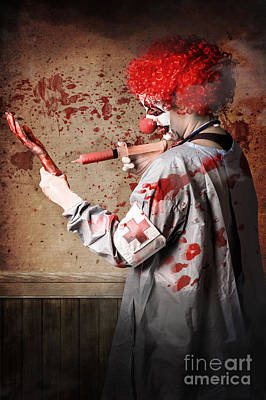 Clown Photograph - Scary Medical Clown Injecting Horror Into Limb by Jorgo Photography - Wall Art Gallery